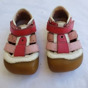 Umi Pink & White Leather Sandals, sz 5
